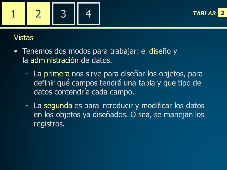 2 TABLAS 2341 Vistas Tenemos dos modos para trabajar: el diseño y la administración de datos.