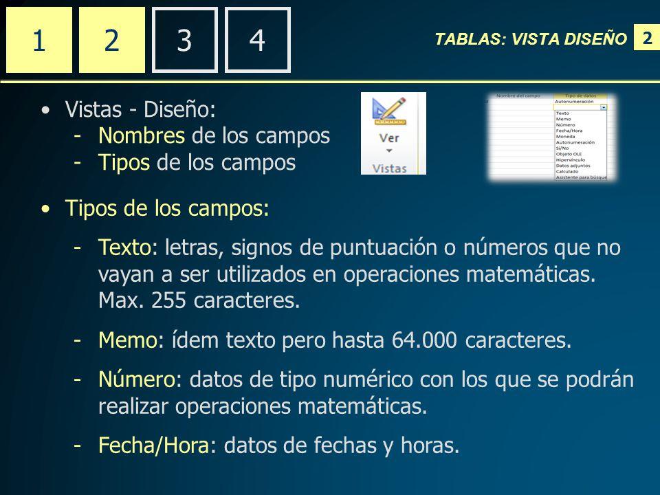 2 TABLAS: VISTA DISEÑO 2341 Vistas - Diseño: -Nombres de los campos -Tipos de los campos Tipos de los campos: -Texto: letras, signos de puntuación o números que no vayan a ser utilizados en operaciones matemáticas.