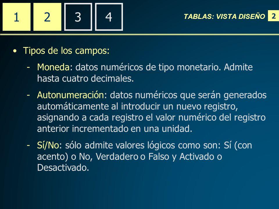2 2341 Tipos de los campos: -Moneda: datos numéricos de tipo monetario.