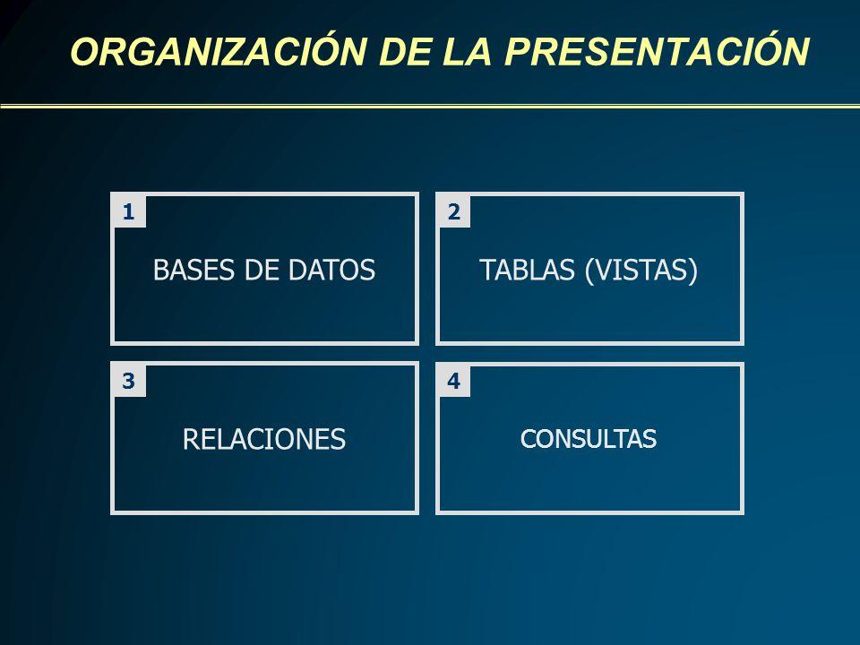 BASES DE DATOSTABLAS (VISTAS) RELACIONES CONSULTAS ORGANIZACIÓN DE LA PRESENTACIÓN 43 21