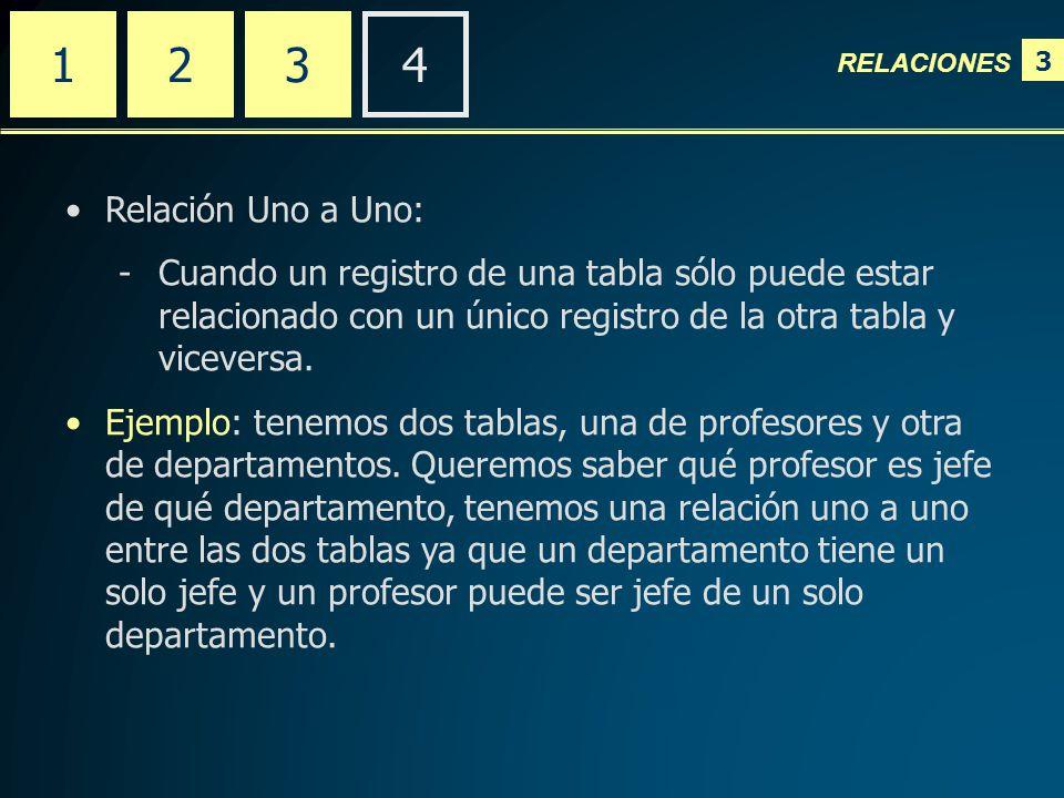 3 RELACIONES 2341 Relación Uno a Uno: -Cuando un registro de una tabla sólo puede estar relacionado con un único registro de la otra tabla y viceversa.