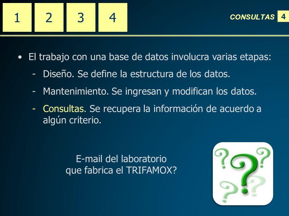 4 CONSULTAS 2341 El trabajo con una base de datos involucra varias etapas: -Diseño.