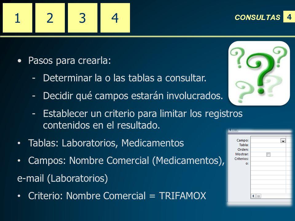 4 CONSULTAS 2341 Pasos para crearla: -Determinar la o las tablas a consultar.