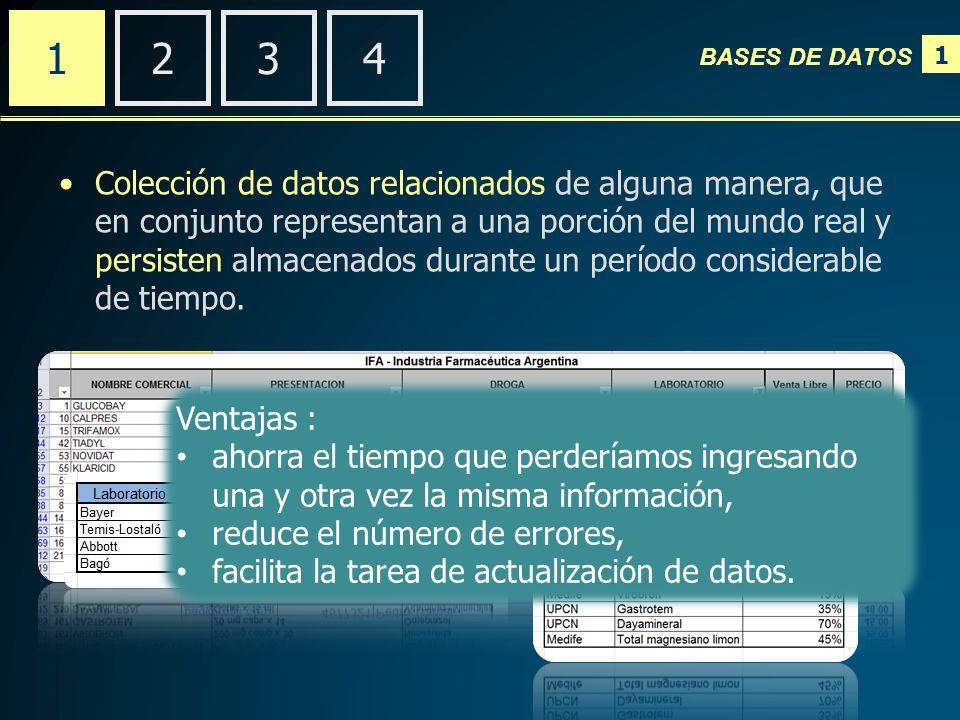 1 BASES DE DATOS 2341 El trabajo con una base de datos involucra varias etapas: -Diseño.