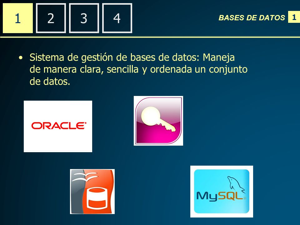 1 BASES DE DATOS 2341 Sistema de gestión de bases de datos: Maneja de manera clara, sencilla y ordenada un conjunto de datos.