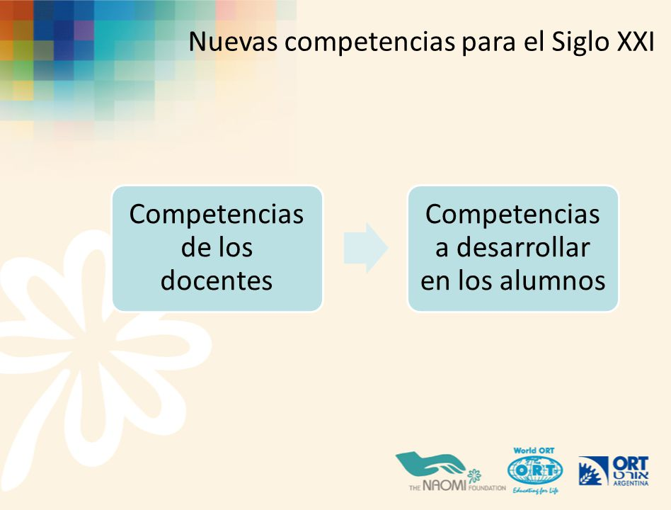 Competencias de los docentes Competencias a desarrollar en los alumnos Nuevas competencias para el Siglo XXI