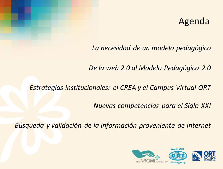 Agenda La necesidad de un modelo pedagógico De la web 2.0 al Modelo Pedagógico 2.0 Estrategias institucionales: el CREA y el Campus Virtual ORT Nuevas competencias para el Siglo XXI Búsqueda y validación de la información proveniente de Internet