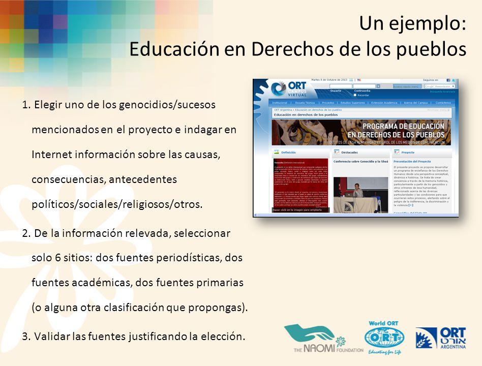 Un ejemplo: Educación en Derechos de los pueblos 1.