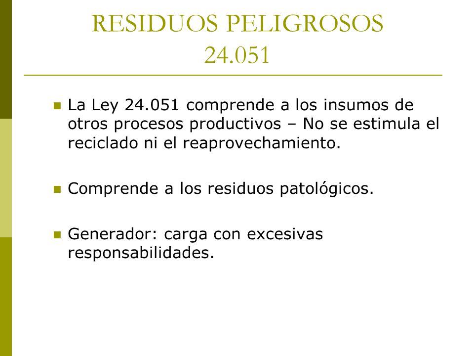 RESIDUOS INDUSTRIALES 24.612 Rompe el esquema normativo argentino que adopta la denominación y sistema de residuos peligrosos por pertenencia a anexos.