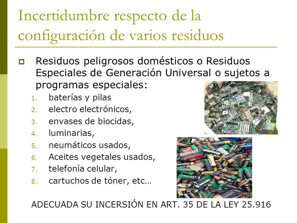 Incertidumbre respecto de la configuración de varios residuos Residuos peligrosos domésticos o Residuos Especiales de Generación Universal o sujetos a