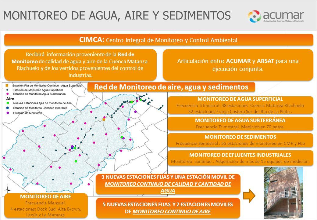 Recibirá información proveniente de la Red de Monitoreo de calidad de agua y aire de la Cuenca Matanza Riachuelo y de los vertidos provenientes del co