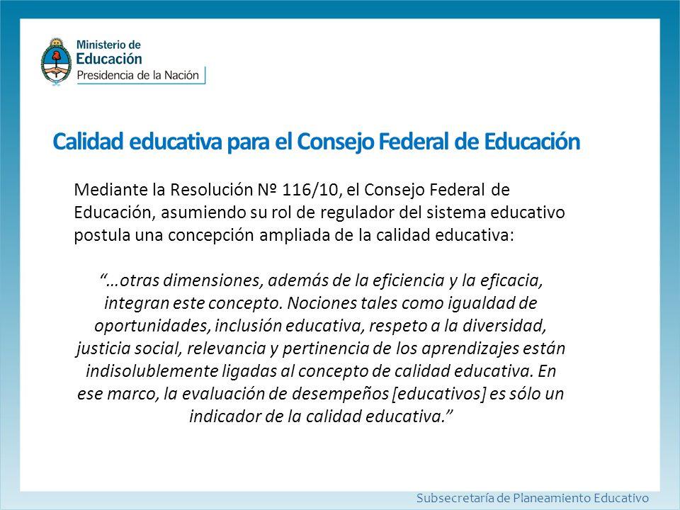 Calidad educativa para el Consejo Federal de Educación Subsecretaría de Planeamiento Educativo Mediante la Resolución Nº 116/10, el Consejo Federal de