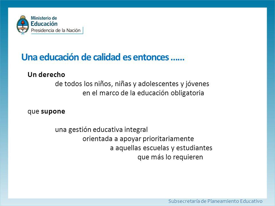 Una educación de calidad es entonces …… Subsecretaría de Planeamiento Educativo Un derecho de todos los niños, niñas y adolescentes y jóvenes en el ma