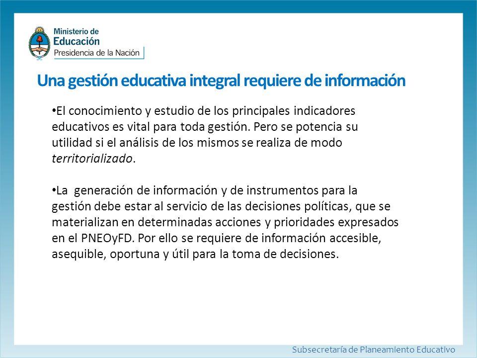 Subsecretaría de Planeamiento Educativo El conocimiento y estudio de los principales indicadores educativos es vital para toda gestión. Pero se potenc