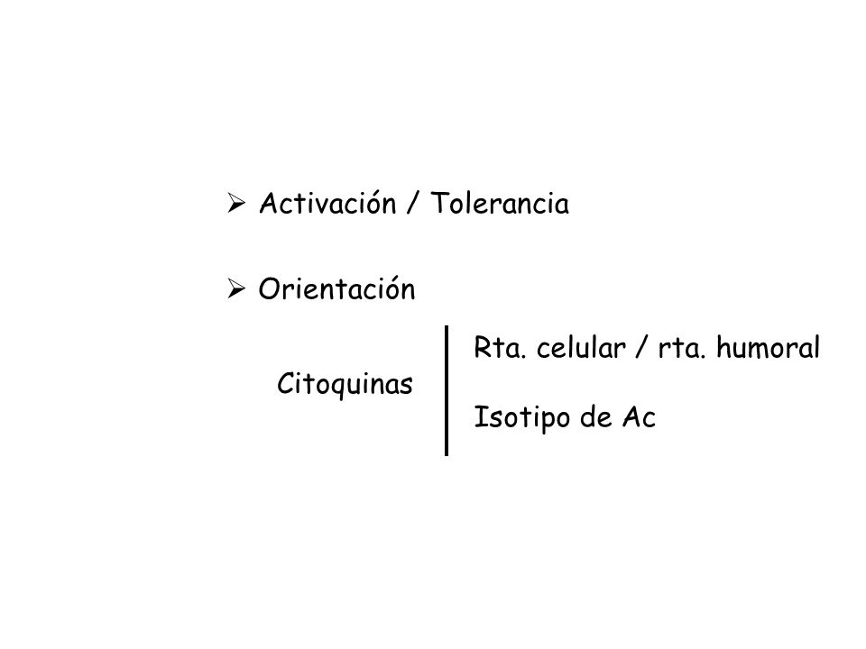 Activación / Tolerancia Orientación Citoquinas Rta. celular / rta. humoral Isotipo de Ac