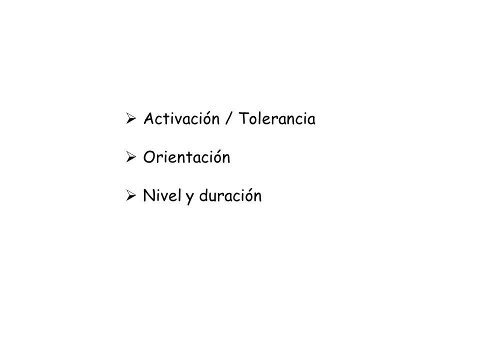 Activación / Tolerancia Orientación Nivel y duración