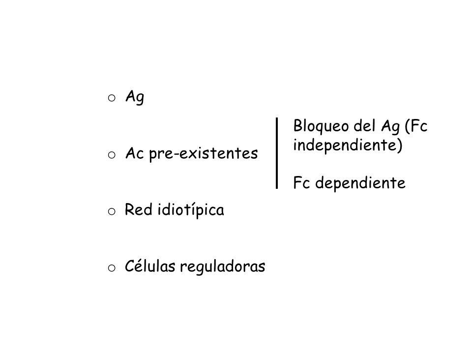 o Ag o Ac pre-existentes o Red idiotípica o Células reguladoras Bloqueo del Ag (Fc independiente) Fc dependiente