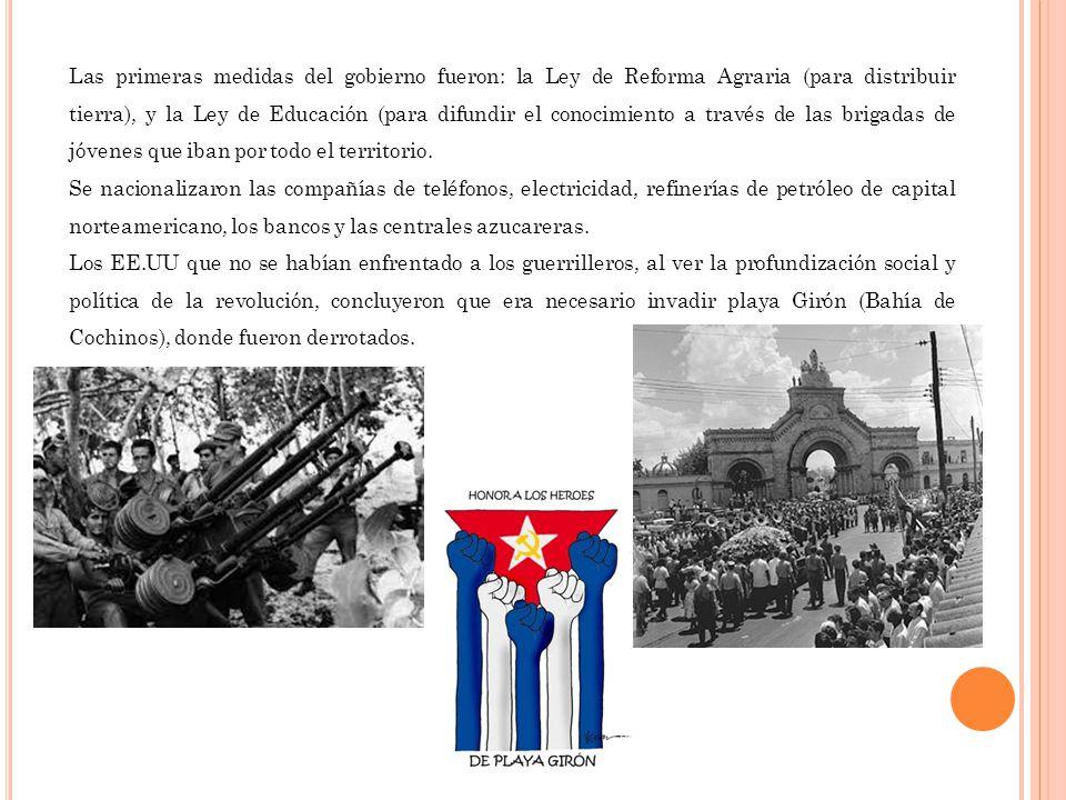 Las primeras medidas del gobierno fueron: la Ley de Reforma Agraria (para distribuir tierra), y la Ley de Educación (para difundir el conocimiento a t