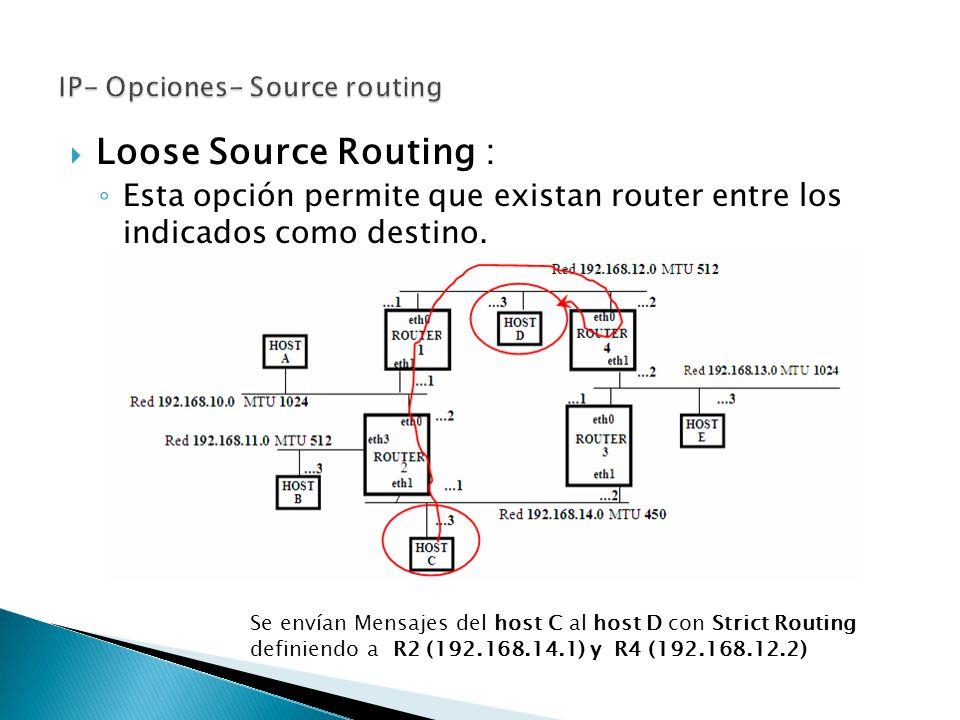 Loose Source Routing : Esta opción permite que existan router entre los indicados como destino. Se envían Mensajes del host C al host D con Strict Rou