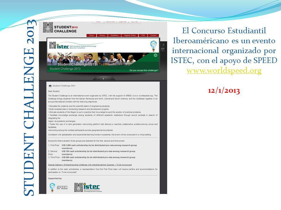 STUDENT CHALLENGE 2013 El Concurso Estudiantil Iberoaméricano es un evento internacional organizado por ISTEC, con el apoyo de SPEED (www.worldspeed.org)www.worldspeed.org 12/1/2013