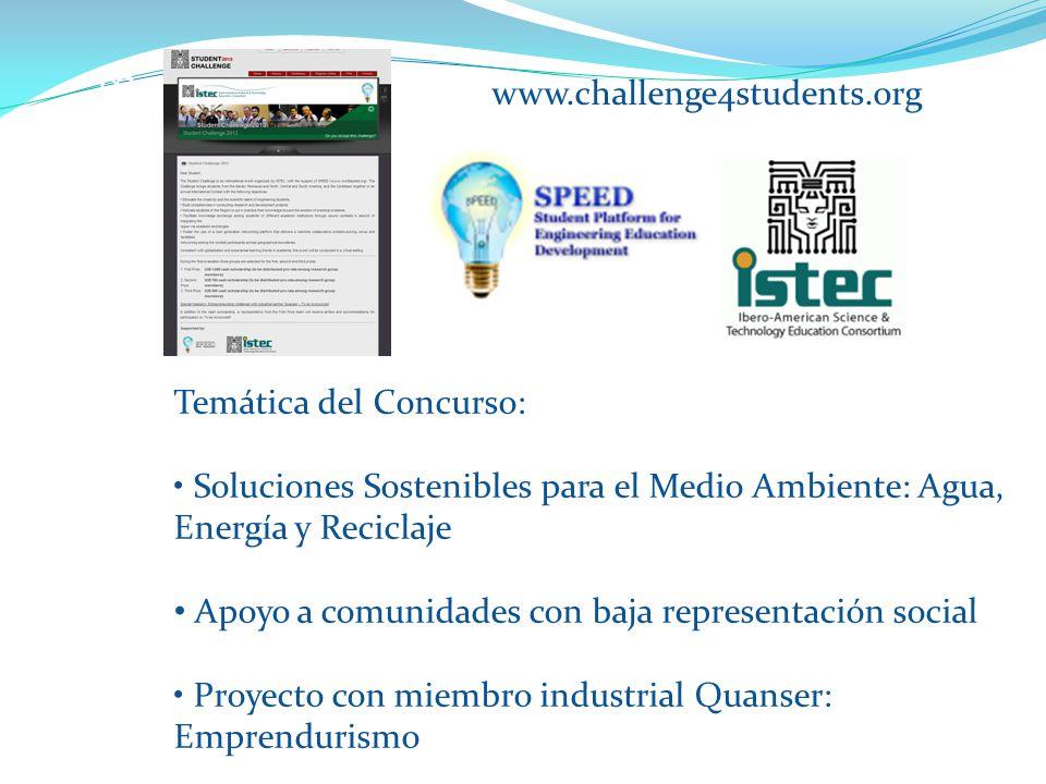 STUDENT CHALLENGE 2013 www.challenge4students.org Temática del Concurso: Soluciones Sostenibles para el Medio Ambiente: Agua, Energía y Reciclaje Apoyo a comunidades con baja representación social Proyecto con miembro industrial Quanser: Emprendurismo