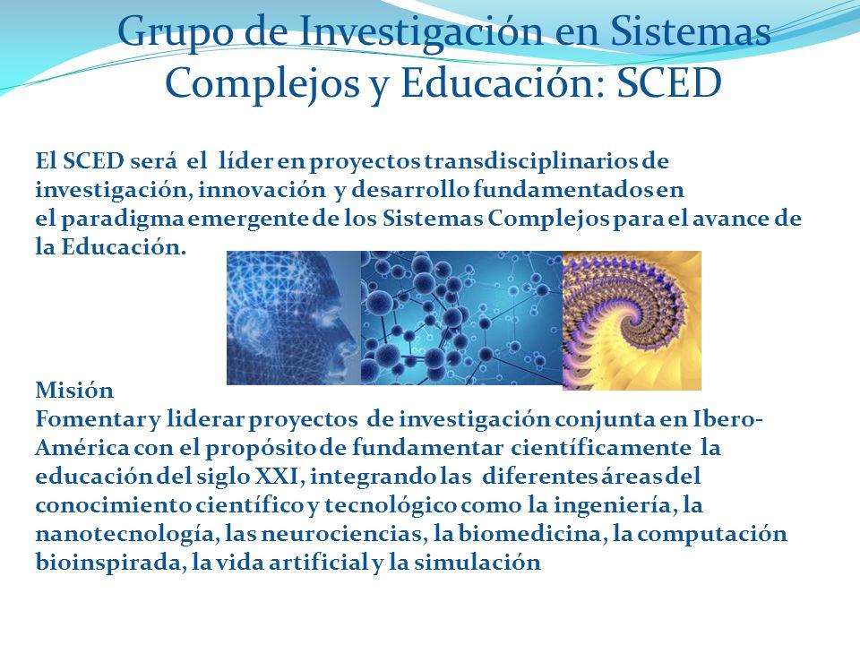 Grupo de Investigación en Sistemas Complejos y Educación: SCED Visión El SCED será el líder en proyectos transdisciplinarios de investigación, innovación y desarrollo fundamentados en el paradigma emergente de los Sistemas Complejos para el avance de la Educación.