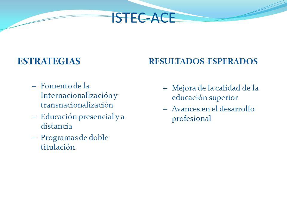 ISTEC-ACE Advanced Continuing Education – Fomento de la Internacionalización y transnacionalización – Educación presencial y a distancia – Programas de doble titulación RESULTADOS ESPERADOS – Mejora de la calidad de la educación superior – Avances en el desarrollo profesional ESTRATEGIAS