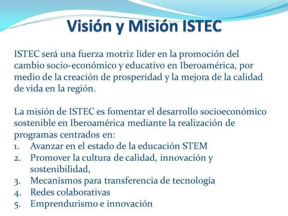 ISTEC será una fuerza motriz líder en la promoción del cambio socio-económico y educativo en Iberoamérica, por medio de la creación de prosperidad y la mejora de la calidad de vida en la región.