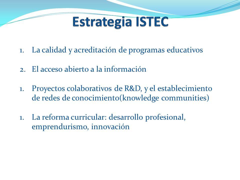 1.La calidad y acreditación de programas educativos 2.El acceso abierto a la información 1.Proyectos colaborativos de R&D, y el establecimiento de redes de conocimiento(knowledge communities) 1.La reforma curricular: desarrollo profesional, emprendurismo, innovación