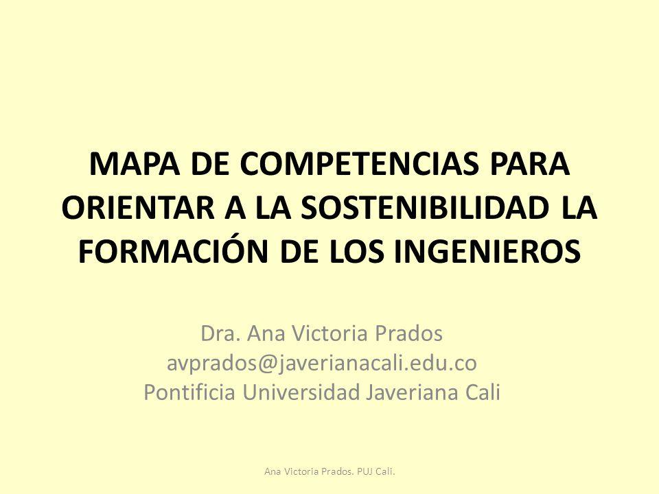 MAPA DE COMPETENCIAS PARA ORIENTAR A LA SOSTENIBILIDAD LA FORMACIÓN DE LOS INGENIEROS Dra.