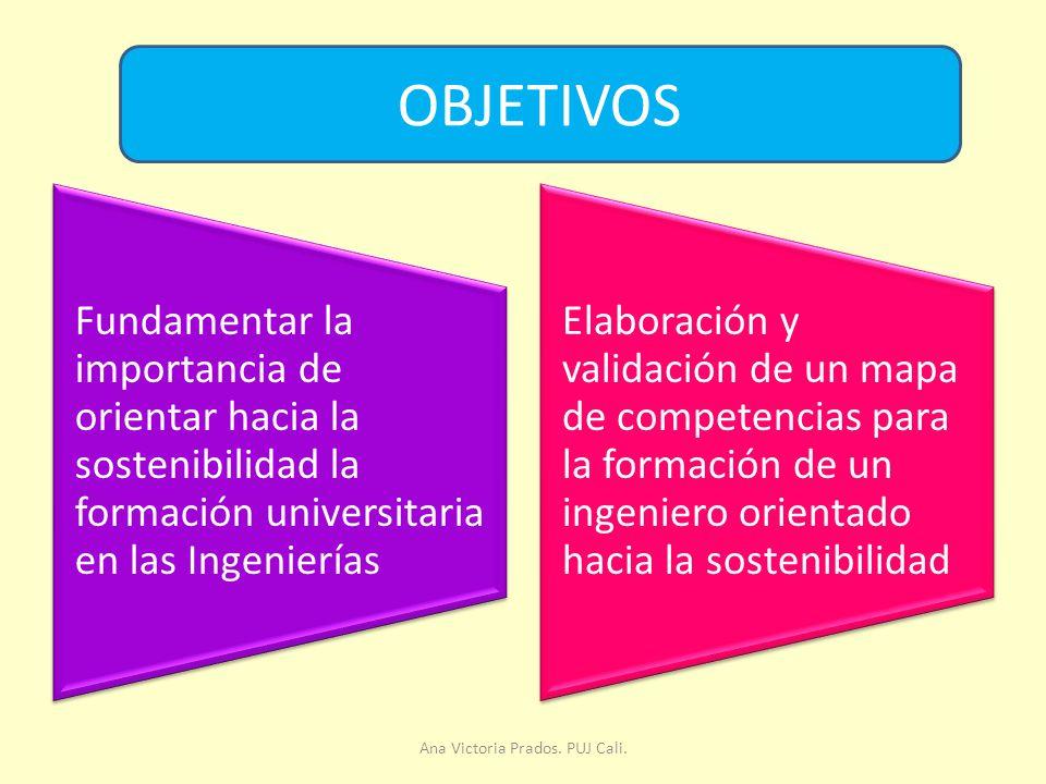 Fundamentar la importancia de orientar hacia la sostenibilidad la formación universitaria en las Ingenierías Elaboración y validación de un mapa de competencias para la formación de un ingeniero orientado hacia la sostenibilidad OBJETIVOS Ana Victoria Prados.