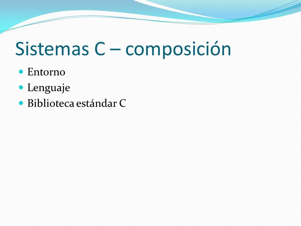 Sistemas C – composición Entorno Lenguaje Biblioteca estándar C