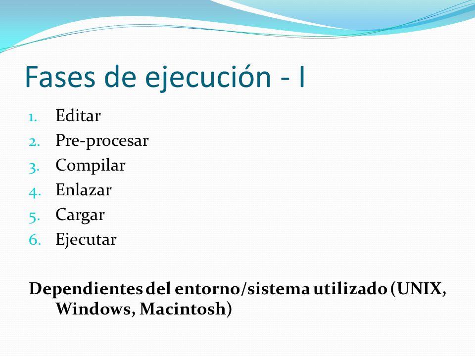 Fases de ejecución - I 1. Editar 2. Pre-procesar 3.