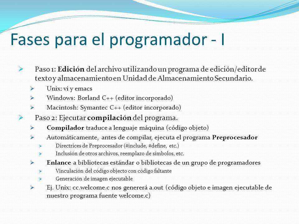 Fases para el programador - I Paso 1: Edición del archivo utilizando un programa de edición/editor de texto y almacenamiento en Unidad de Almacenamiento Secundario.