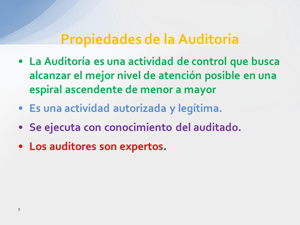 5 Propiedades de la Auditoria La Auditoría es una actividad de control que busca alcanzar el mejor nivel de atención posible en una espiral ascendente