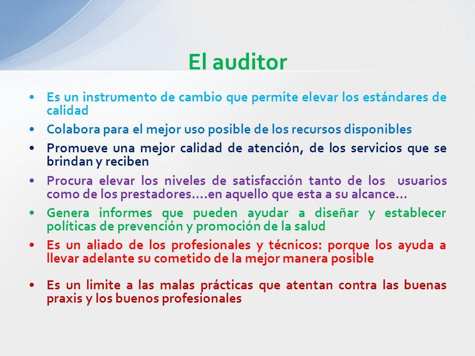 El auditor Es un instrumento de cambio que permite elevar los estándares de calidad Colabora para el mejor uso posible de los recursos disponibles Pro