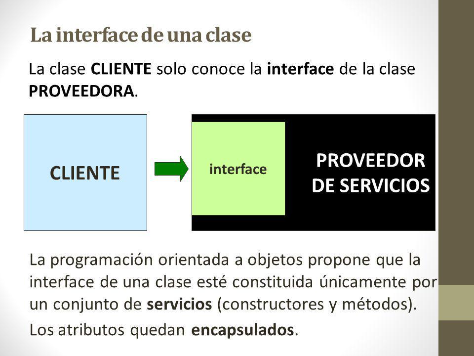 La interface de una clase La programación orientada a objetos propone que la interface de una clase esté constituida únicamente por un conjunto de servicios (constructores y métodos).