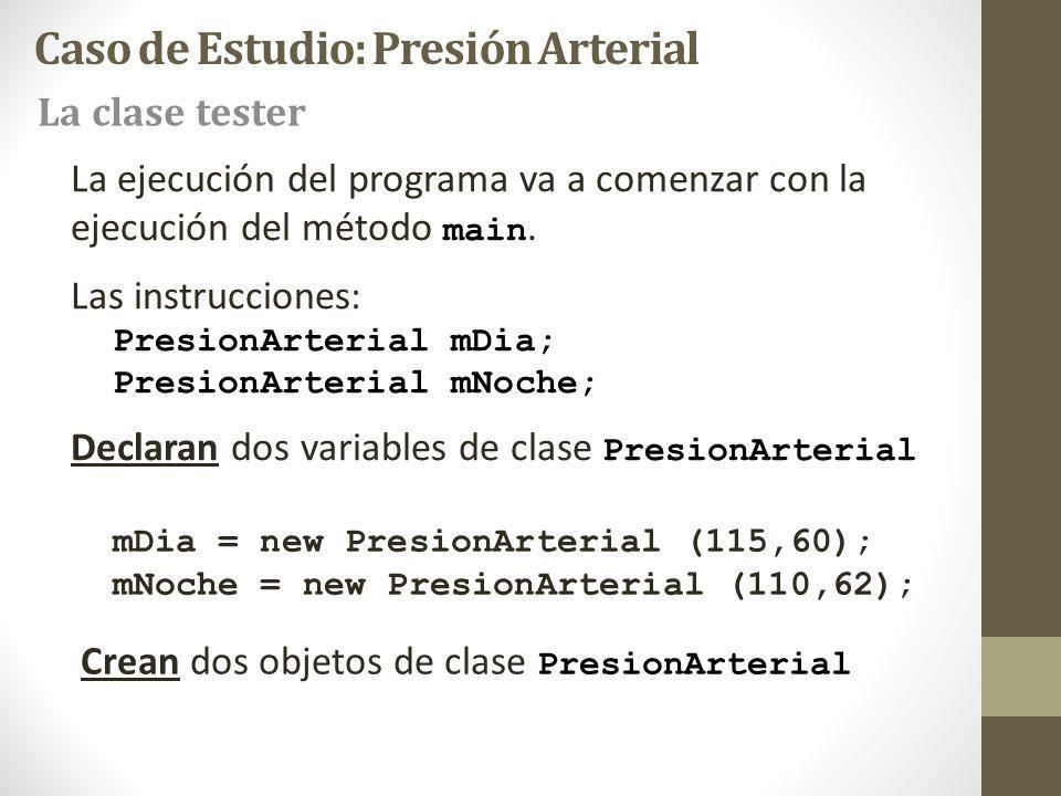 La ejecución del programa va a comenzar con la ejecución del método main. Las instrucciones: PresionArterial mDia; PresionArterial mNoche; Declaran do