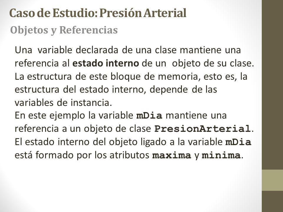Una variable declarada de una clase mantiene una referencia al estado interno de un objeto de su clase.
