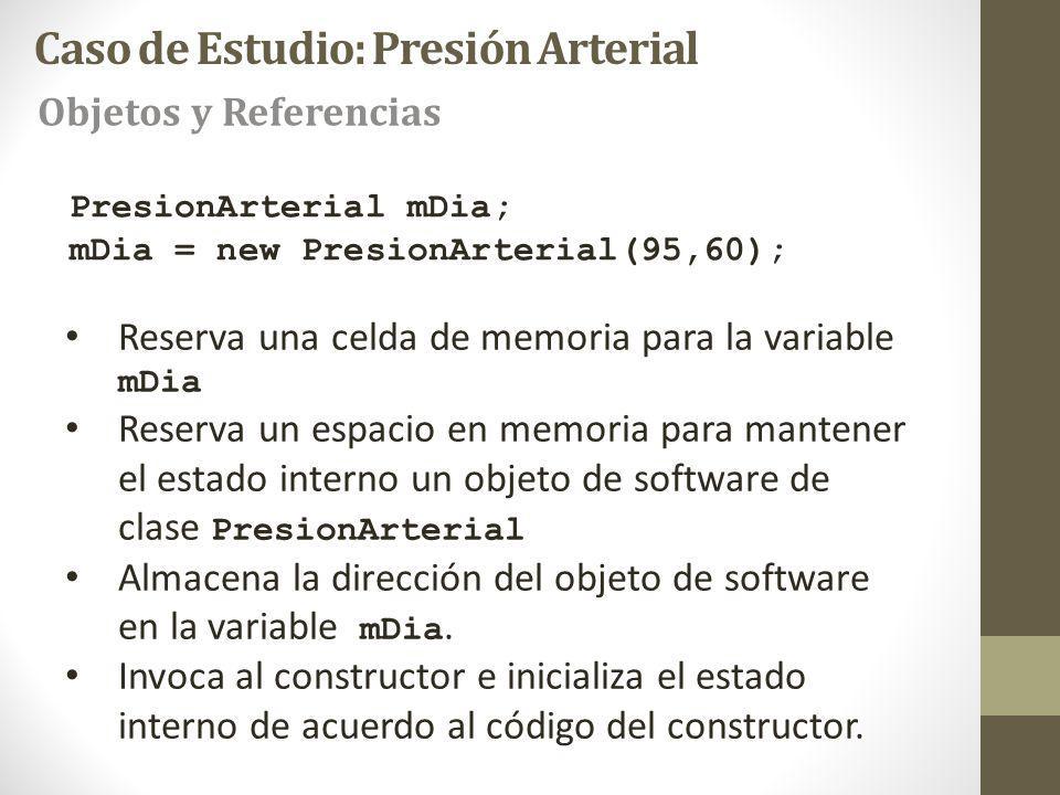 PresionArterial mDia; mDia = new PresionArterial(95,60); Reserva una celda de memoria para la variable mDia Reserva un espacio en memoria para mantener el estado interno un objeto de software de clase PresionArterial Almacena la dirección del objeto de software en la variable mDia.