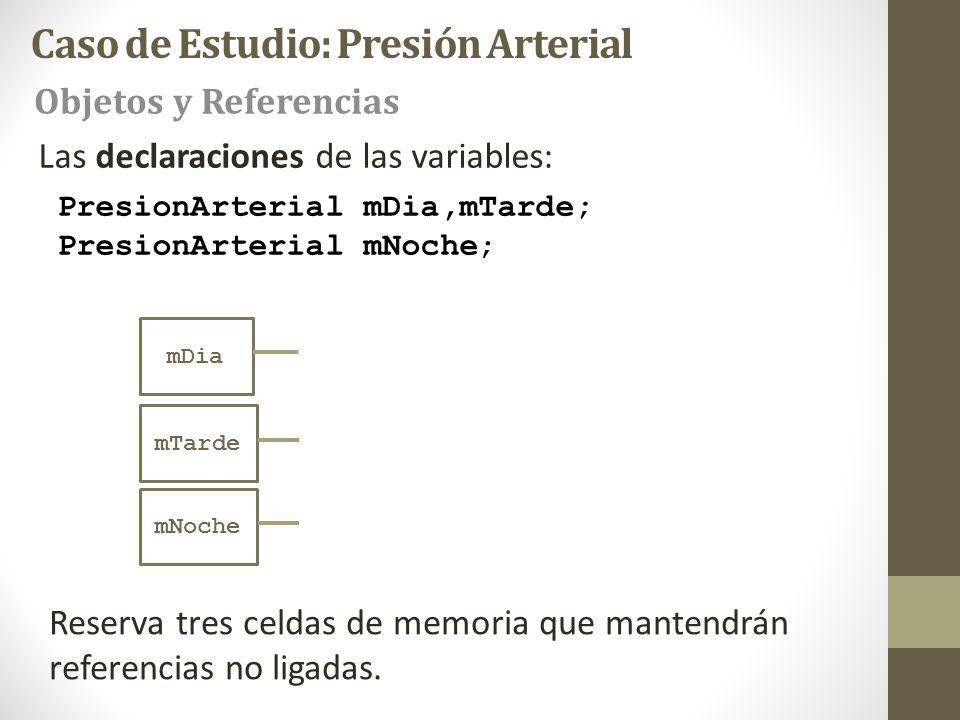PresionArterial mDia,mTarde; PresionArterial mNoche; Las declaraciones de las variables: Reserva tres celdas de memoria que mantendrán referencias no ligadas.