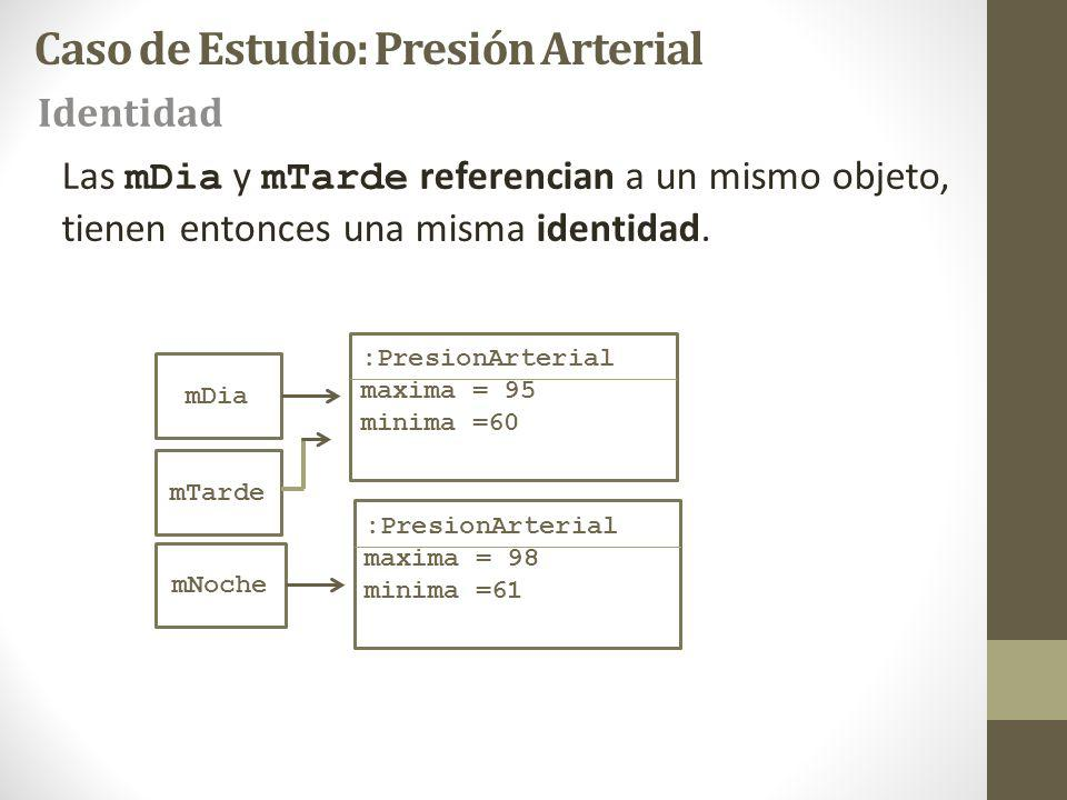 mDia :PresionArterial maxima = 95 minima =60 mNoche :PresionArterial maxima = 98 minima =61 mTarde Las mDia y mTarde referencian a un mismo objeto, tienen entonces una misma identidad.