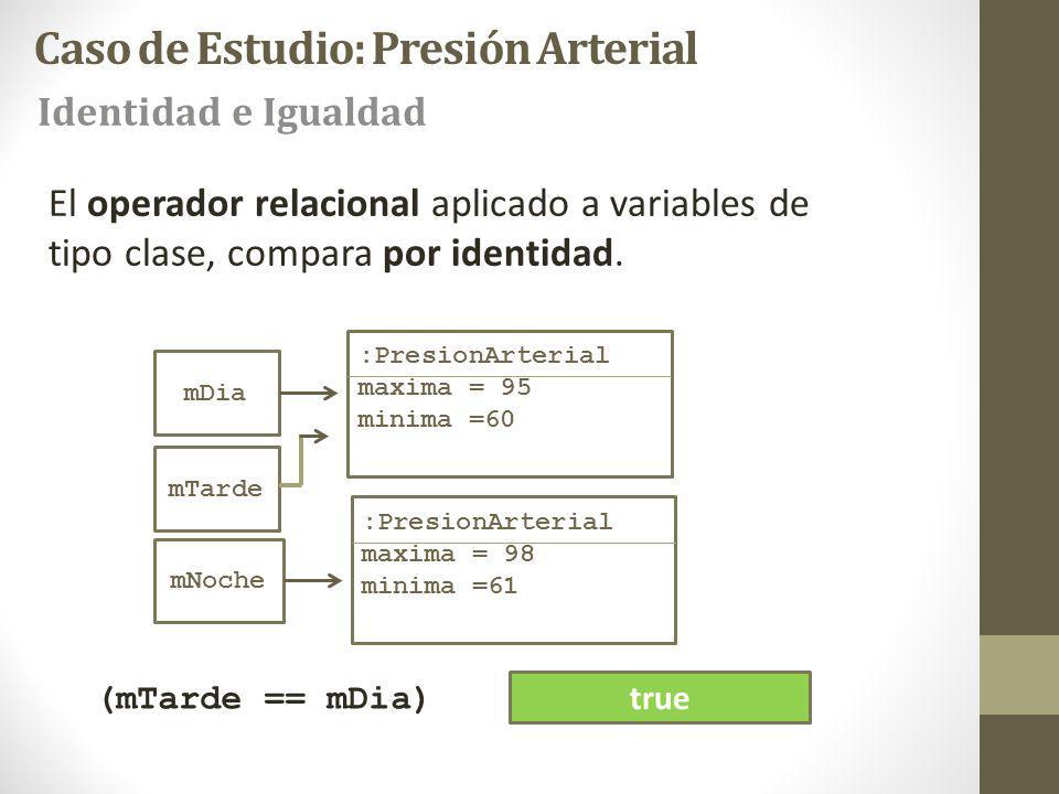 mDia :PresionArterial maxima = 95 minima =60 mNoche :PresionArterial maxima = 98 minima =61 mTarde El operador relacional aplicado a variables de tipo clase, compara por identidad.