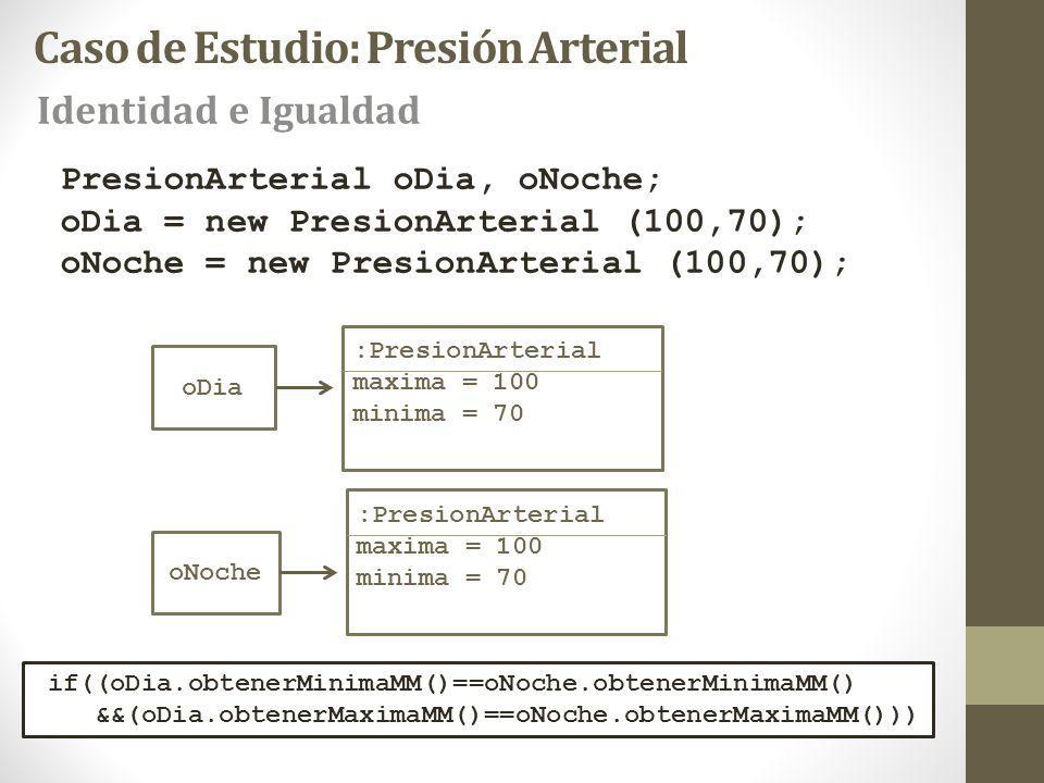 PresionArterial oDia, oNoche; oDia = new PresionArterial (100,70); oNoche = new PresionArterial (100,70); oDia :PresionArterial maxima = 100 minima = 70 oNoche :PresionArterial maxima = 100 minima = 70 if((oDia.obtenerMinimaMM()==oNoche.obtenerMinimaMM() &&(oDia.obtenerMaximaMM()==oNoche.obtenerMaximaMM())) Caso de Estudio: Presión Arterial Identidad e Igualdad