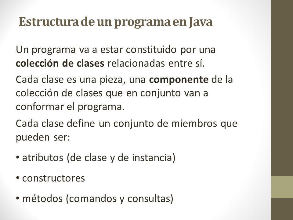 Un programa va a estar constituido por una colección de clases relacionadas entre sí. Cada clase es una pieza, una componente de la colección de clase