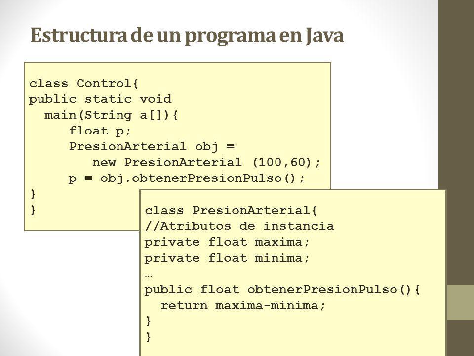 class Control{ public static void main(String a[]){ float p; PresionArterial obj = new PresionArterial (100,60); p = obj.obtenerPresionPulso(); } class PresionArterial{ //Atributos de instancia private float maxima; private float minima; … public float obtenerPresionPulso(){ return maxima-minima; } Estructura de un programa en Java