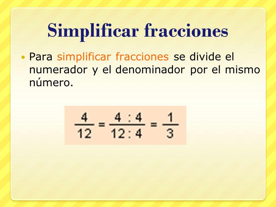 Simplificar fracciones Para simplificar fracciones se divide el numerador y el denominador por el mismo número.
