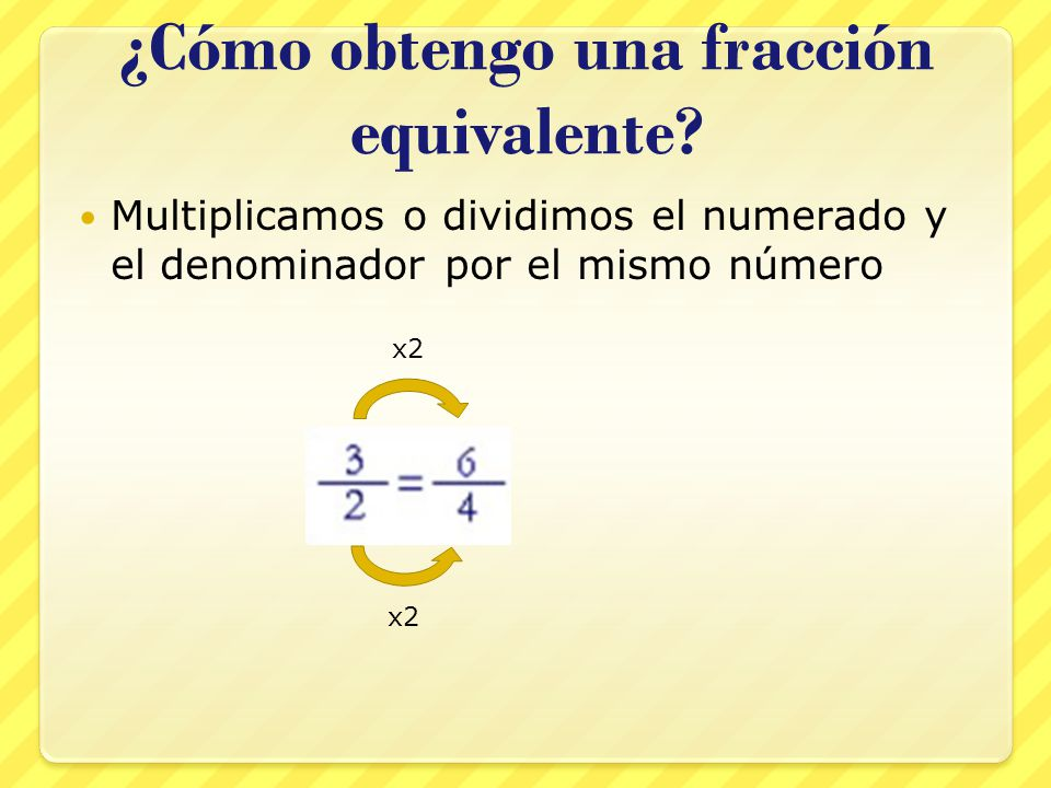 ¿Cómo obtengo una fracción equivalente.