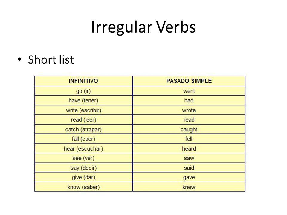 Irregular Verbs Short list