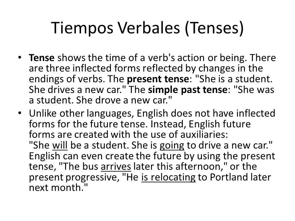 Tiempos Verbales (Tenses) Tense shows the time of a verb's action or being. There are three inflected forms reflected by changes in the endings of ver